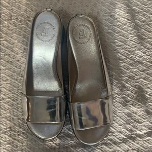 FRENCH CONNECTION SILVER MULES